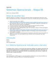 Agenda Sistemas Operacionais -  ETAPA 05.doc